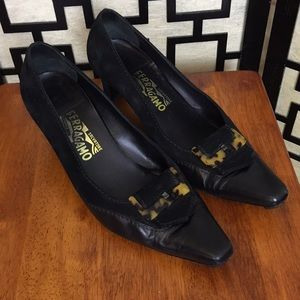 Salvatore Ferragamo black suede and leather pumps